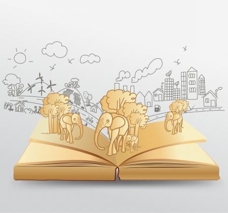 educacion ambiental: Abra el libro con el concepto de idea creativa dibujo elefante