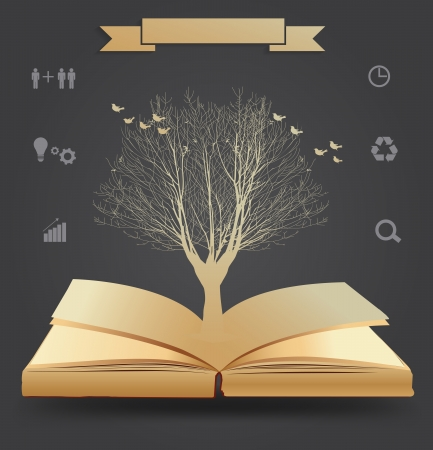 Tree silhouette on book, illustration modern template design Vector