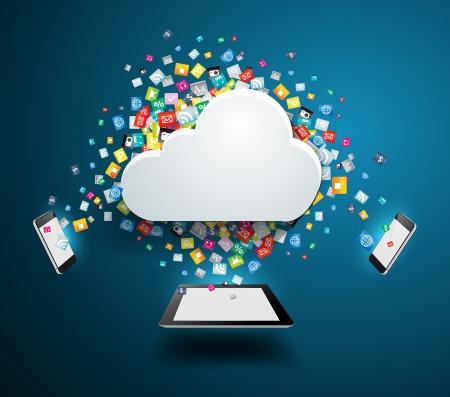 クラウド コンピューティングのコンセプトは、カラフルなアプリケーション アイコン ビジネス ソフトウェアとソーシャル メディア ソーシャルネ  イラスト・ベクター素材