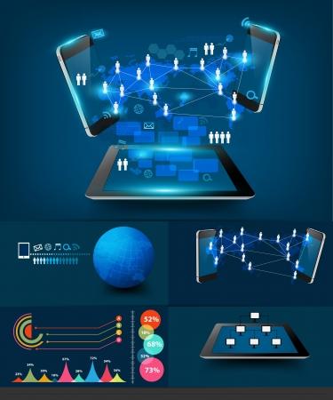 process diagram: Infografica Moderno business comunicazione tecnologia, creativi virtuali networking informazioni di processo telefoni cellulari e tablet schema collegamento computer pc, illustrazione modello di lavoro di progettazione Vettoriali