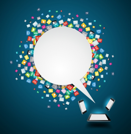 カラフルなアプリケーション アイコン、ビジネス ソフトウェア、ソーシャル メディア ソーシャルネットワー キング サービス アイデア コンセプト
