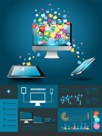 touch screen interface: Computer with mobile phones colorful application  Illustration