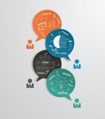 kommunikation: Moderna företag bubbla anförande mall med ritning affärs strategiplan begrepp idé, workflow layout, diagram, steg upp alternativ, web banner mall, illustration modern design för mall Illustration