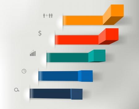 visualize: Moderna passi ai grafici di business di successo e grafici opzioni banner illustrazione moderno modello di progettazione
