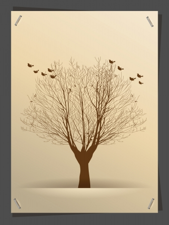 tree symbol: Tree silhouette banner idea concept, illustration modern template design