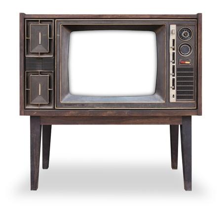 クリッピング パスは、絶縁ヴィンテージテレビ 写真素材