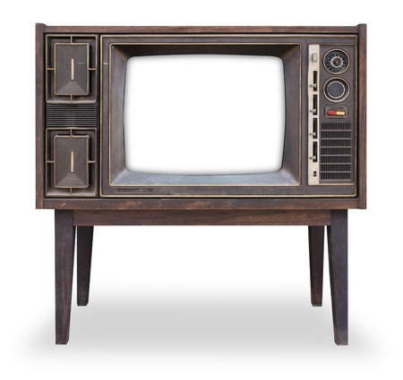 tv stand: Vintage television isolated with clipping path Stock Photo