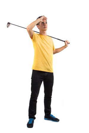 short gloves: Portrait of young golf player, isolated on white background