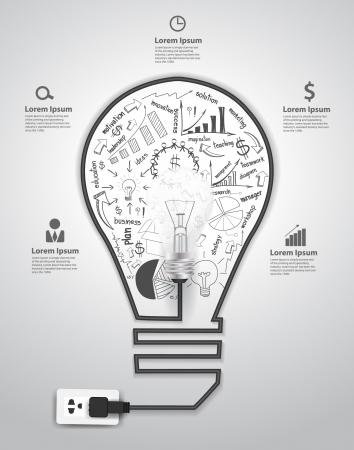 Creatieve lamp met tekenen en grafieken zakelijk succes strategieplan begrip idee, Vector illustratie moderne sjabloon ontwerp