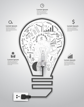 web marketing: Creative light bulb with drawing charts and graphs business success strategy plan concept idea, Vector illustration modern template design  Illustration