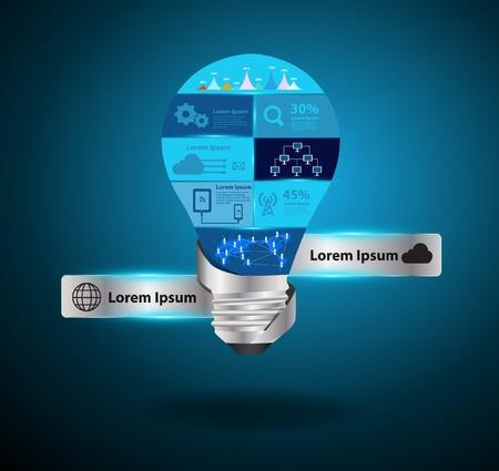 business networking: Creative light bulb idea with modern technology business networking process diagram concept idea, Vector illustration modern template design