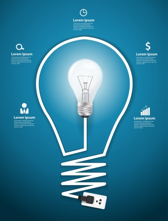 Creative light bulb abstract infographic modern design template workflow layout, diagram, step up options Illustration