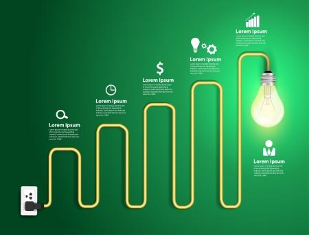 prise de courant: Creative ampoule tableaux abstraits et graphiques de conception moderne mod�le de workflow disposition, diagramme, intensifier les options
