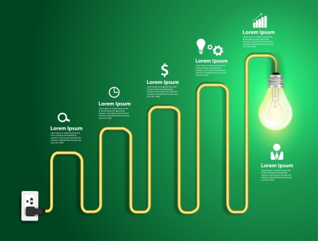positive energy: Creative light bulb abstract charts and graphs modern design template workflow layout, diagram, step up options