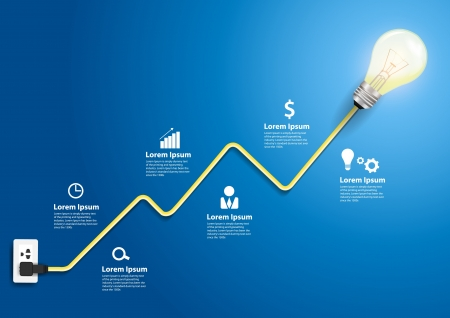 electricity: Creative light bulb abstract charts and graphs modern design template workflow layout, diagram, step up options