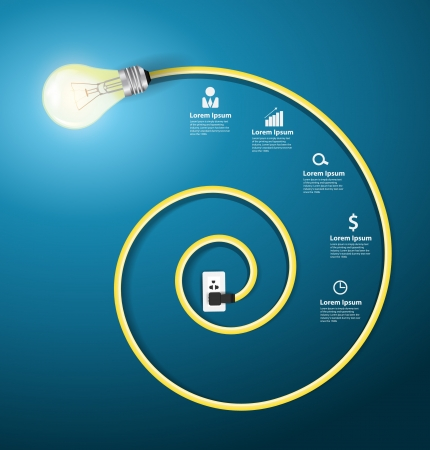 power of thinking: Creative light bulb abstract infographic modern design template workflow layout, diagram, step up options Illustration
