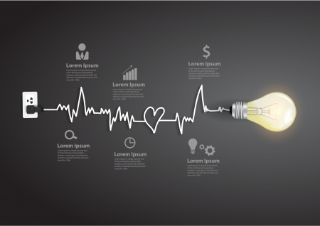 Creatieve gloeilamp abstracte infographic modern design template workflow layout, diagram, intensiveren opties Stock Illustratie