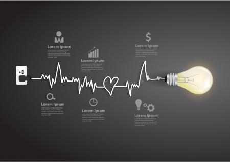 inspiratie: Creatieve gloeilamp abstracte infographic modern design template workflow layout, diagram, intensiveren opties Stock Illustratie