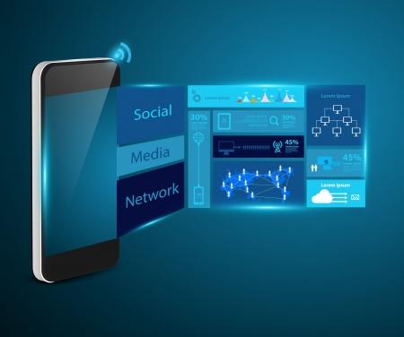 Modern technology business concept mobile phones, Creative design network information process diagram, Vector illustration modern template design Stock Vector - 21725144