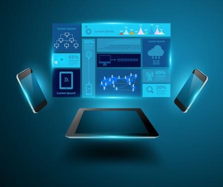 태블릿 컴퓨터, 크리 에이 티브 디자인 네트워크 정보 프로세스 다이어그램, 벡터 일러스트 레이 션 현대 템플릿 디자인과 현대 기술 비즈니스 개념 휴