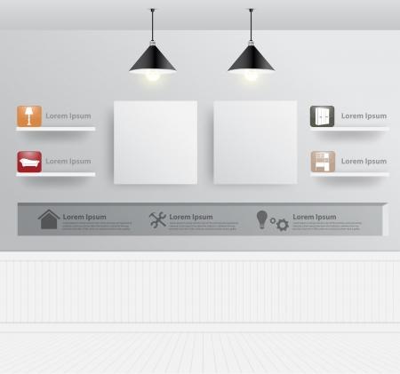 Interieur met meubelen iconen, Vector illustratie moderne sjabloon ontwerp