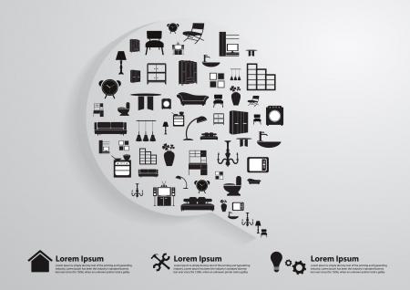 가정 가구 아이콘, 홈 개선 및 장식 서비스 개념 아이디어, 벡터 일러스트 레이 션의 현대 템플릿 디자인과 현대 비즈니스의 거품 음성 템플릿