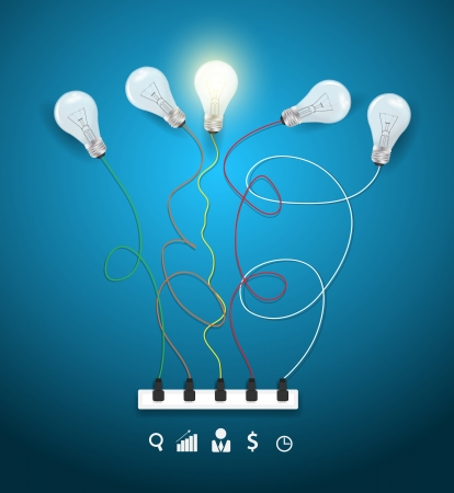 Idea concept with light bulbs on a blue background workflow layout, diagram, step up options, Vector illustration modern template design Vector