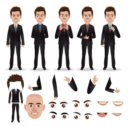 character set: Vector business man with parts of the body template for design work