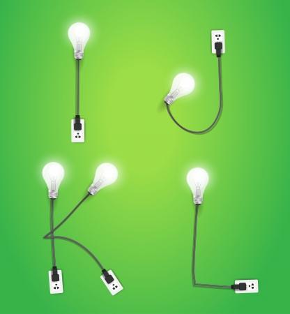 Creative light bulb idea alphabet design, Vector illustration modern template Ilustração