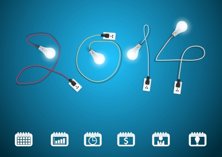 2014 new year with creative light bulb idea, Set of binder silhouettes collection with different icons, Vector illustration modern design template
