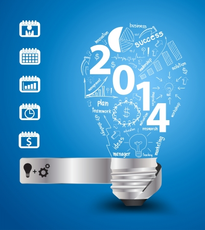 meeting agenda: 2014 new year with creative light bulb idea with drawing charts and graphs business success strategy plan concept, workflow layout, diagram binder silhouettes icons, Vector modern design template