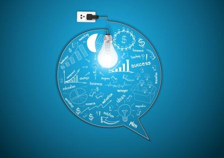 Kreative Glühbirne mit Zeichnung Geschäftsstrategie Plan Konzeptidee, Mit modernen Business-Blase Rede Vorlagenstil Workflow Layout, Grafik, step up Optionen, Vektor-Illustration Template-Design