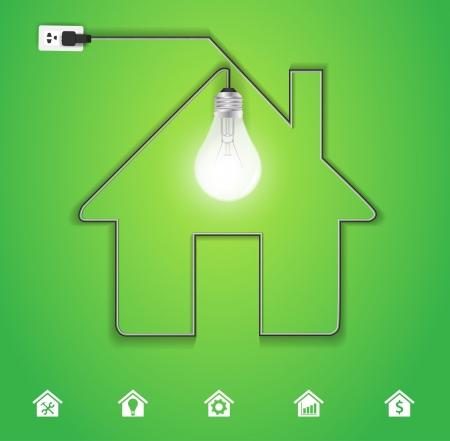 přátelský: Vector domácí ikona s kreativní žárovka na zeleném pozadí Ilustrace