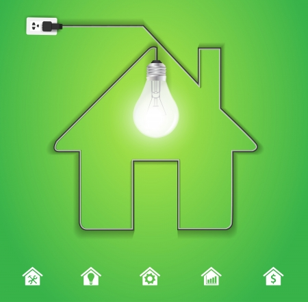 save icon: Vector home icon with creative light bulb on green background Illustration