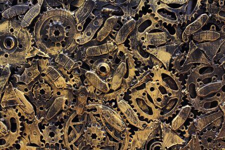 clockwork: Metal gears background, Macro close-up for design work   Stock Photo