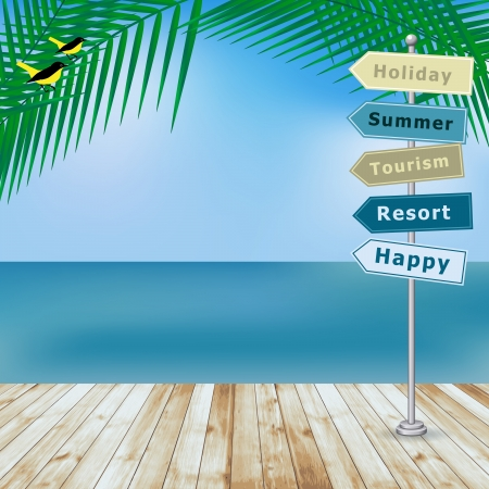 Vector summer holiday background with wood terrace