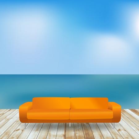 patio deck: Vector wood terrace on the beach and sofa