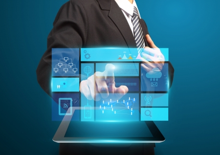 Businessman hand touch screen with technology business concept, Creative network information process diagram photo