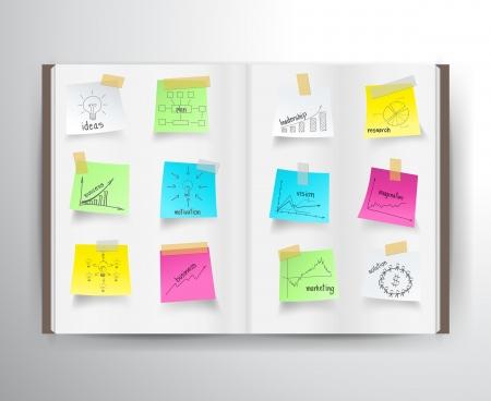 planeaci�n: Libro con las cartas de dibujo y gr�ficos estrategia de negocios idea concepto de plan en la etiqueta de papel, ilustraci�n vectorial dise�o de la plantilla