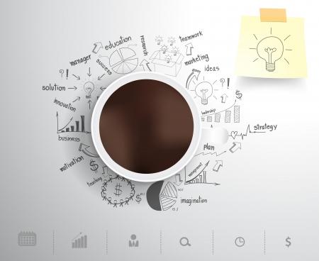 그리기 사업 전략 계획의 개념 아이디어에 커피 컵, 워크 플로우 레이아웃, 그림, 벡터 일러스트 레이 션의 현대 템플릿 디자인에게 옵션을 단계