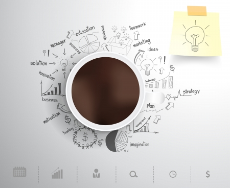 estrategia: Taza de café en la elaboración estrategia de negocio idea concepto de plan, el diseño de flujo de trabajo, diagrama, intensificar opciones, ilustración vectorial plantilla de diseño moderno