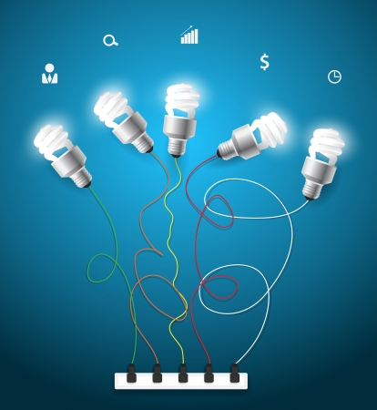 Vector creative light bulbs ideas concept with business icons Vector