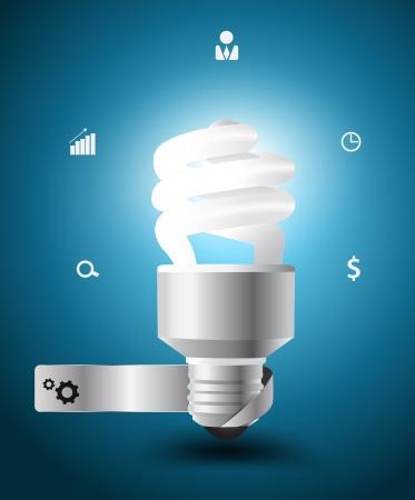bombillo ahorrador: Bombilla Vector idea de concepto con los iconos de negocios Vectores