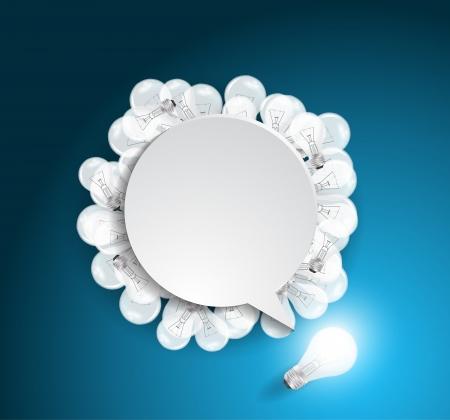 Vector speech bubble with light bulb idea concept Ilustração