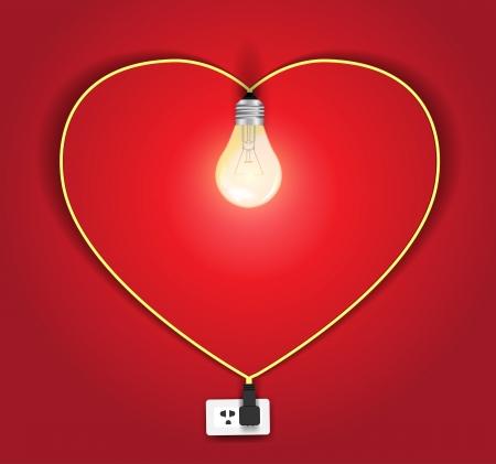 벡터 심장 램프 아이디어 개념