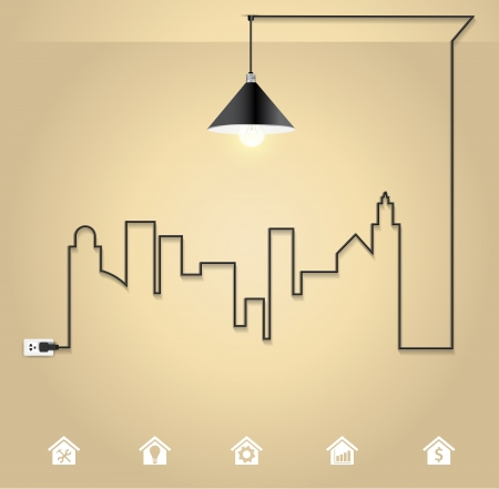 interior design: Vector cityscape with creative wire light bulb idea concept