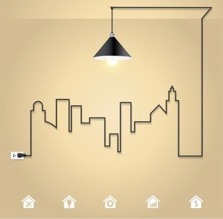 strom: Vector Stadtbild mit kreativen Draht Glühbirne Idee Konzept