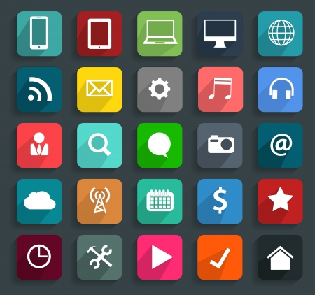 mobile business: Technology business flat icons, illustration modern template design