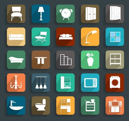 Furniture flat icons, illustration modern template design Vector