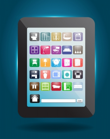 Home decoration of social media icons buttons with tablet computer, illustration template modern design illustration